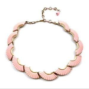 1950's CORO baby pink fan choker necklace